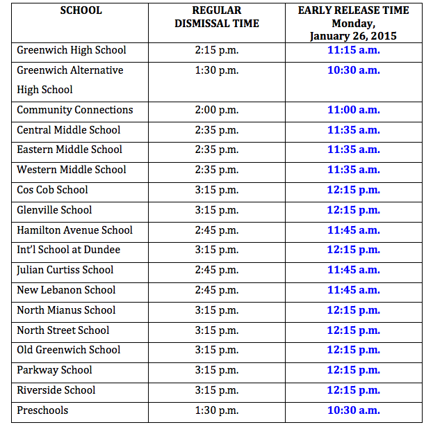 Greenwich Public Schools Calendar.Greenwich Schools Announce 3 Hour Early Dismissal For Monday Jan